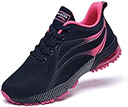 Lamincoa Women's Lightweight Running Shoes Comfortable Breathable Mesh Tennis Shoes for Training Jogging Walking Outdoor Indoor Navy-Rose 8