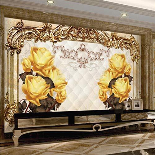Shuangklei behang aangepaste woonkamer slaapkamer bank klassieke Europese patroon reliëf kant tv achtergrond 350 x 250 cm.