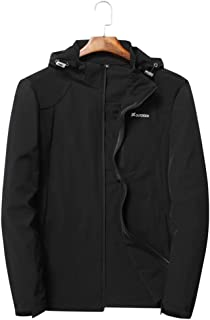 Men's Quick Drying Jacket, Removable Cap Softshell Coat Couple Breathable Sunscreen Windbreaker for Running Cycling Fishing and Travelling,Black,4XL