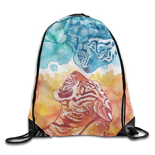 Etryrt Prime Sacs à Cordon,Sac à Dos, Fire Ice Animal Tiger Unisex Outdoor Rucksack Shoulder Bag Sport Drawstring Backpack Bag