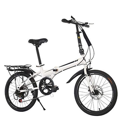 CEALEONE Faltrad, Groß für Stadt REIT- und Pendel, Mit Low Step-Through Stahlrahmen, Single-Speed-Antrieb, Front- und Heckkotflügel,Weiß