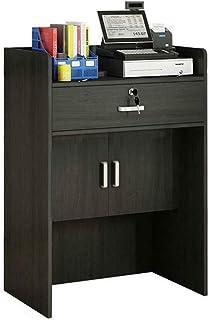 Lzcaure Bureau de Réception Bois Caisse enregistreuse Bureau de réception Stand avec Double Porte Cabinet 60x40x92cm (Colo...