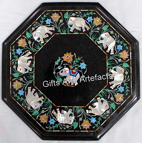 Mesa auxiliar de mármol de 35,5 cm con piedras preciosas y patrón de elefante de nácar se puede utilizar en el balcón