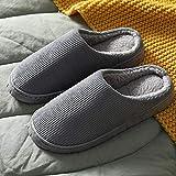 slippers hombre,2020 nuevas zapatillas de algodón de otoño e invierno para el hogar interior antideslizante calidez pareja de felpa medio paquete de suela gruesa con zapatos de mes-mt09 piel roja_42-