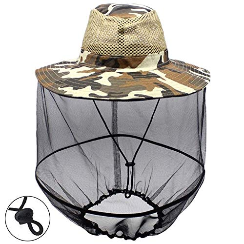 ZZWIF Mosquito Head Net Hat Camo Sun Hat Beekeeper Hat with Insect Repellent Netting Protection from Bug Bee Mosquito for Summer Outdoor Fishing Gardening Camping Hiking Beekeeping (Camo Yellow)