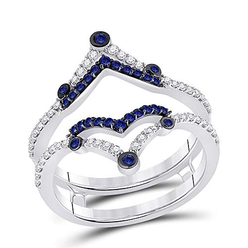 Saris and Things Anel de noivado feminino de ouro branco 14 k safira azul redonda anel aparador 1/2 quilate