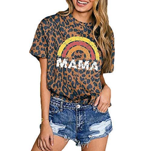 DREAMING-Camiseta de Manga Corta Informal de Primavera y Verano para Mujer, Jersey Suelto, Estampado de Leopardo arcoíris, Cuello Redondo, Camiseta de Manga Corta XL