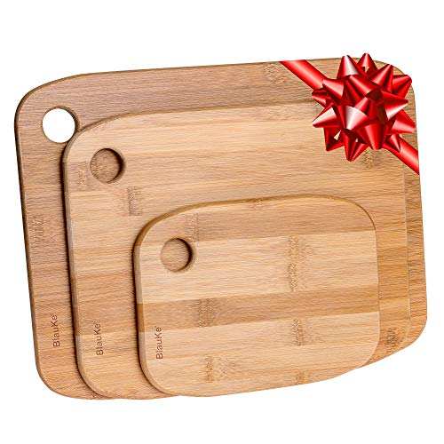 Taglieri Per Cucina In Legno Di Bamboo - Set di 3 Taglieri Da Cucina In Legno (Piccolo, Medio e Grande) – Tagliere Per Cucina In Legno di Bambù, Ecologico, Antibatterico, Utensili Per Cucina - BlauKe