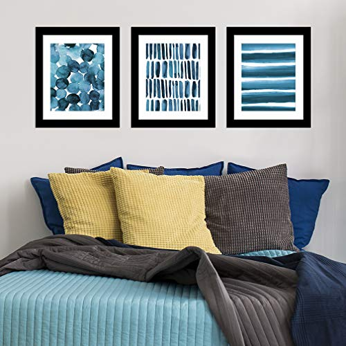 8 x 10 inch Watercolor 3-Pack Art Prints, Blue Abstract. by Paper Riot Co.