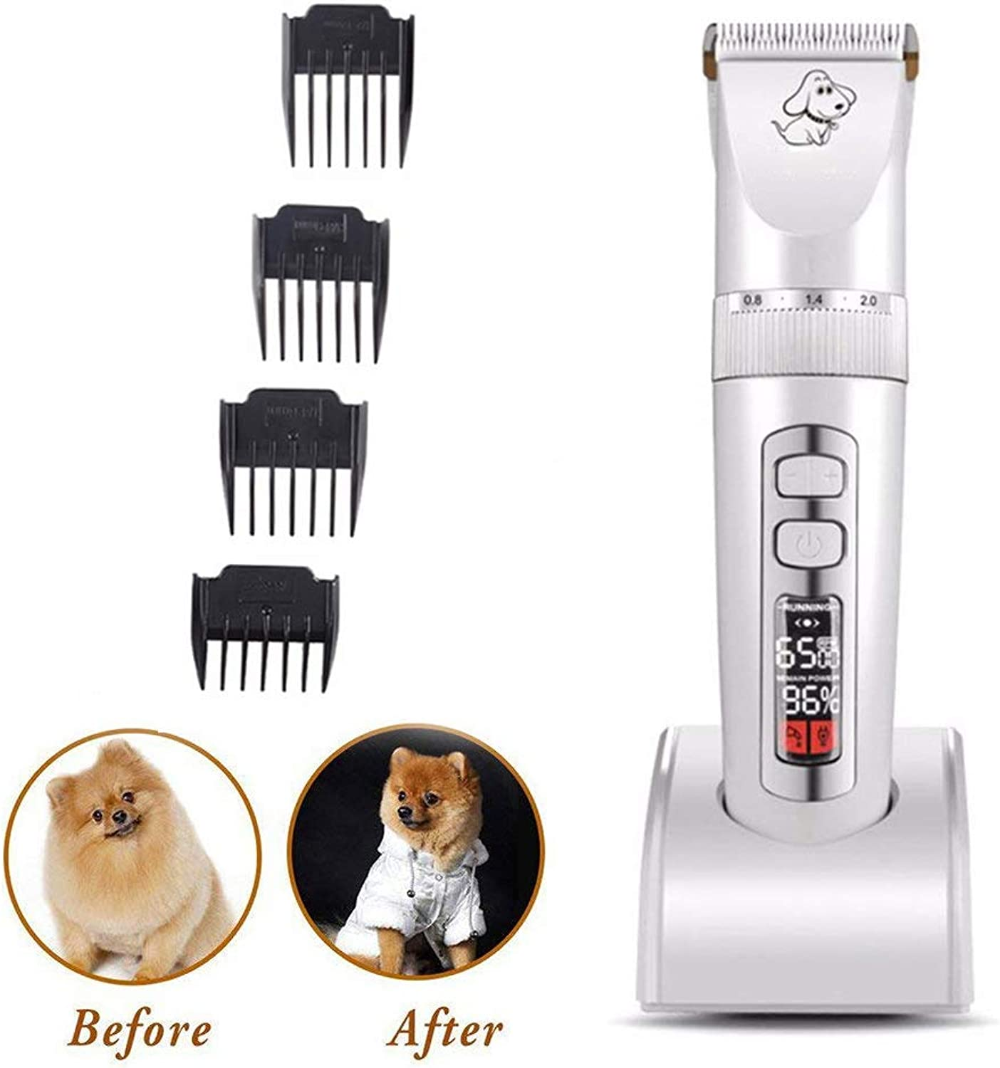REIZYO Dog Grooming Clippers, 3Speed Low Noise Pet Shaver Rechargeable Cordless Dog Hair Trimmer Electric Pet Tool Professional For Dogs Cats Horses With LED Screen Indication Intelligent,White