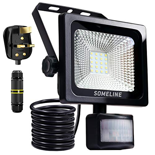 20W Security Light with Motion Sensor IP66 Lights Outdoor Flood Lights High Output Daylight White Waterproof Security Lights with Plug Junction Box PIR Floodlight SOMELINE