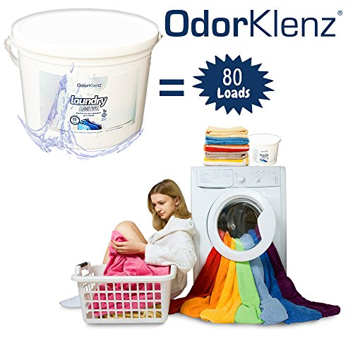OdorKlenz Laundry Additive, Powder Large - 80 Loads, Odor Neutralizer, Made in The USA, HE Friendly & Safe for All Machines.