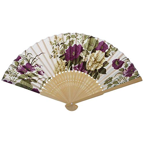 Abanico Plegable Abanico De Mano Plegable De Tela con Estampado Floral De Boda De Verano para Mujer Blanco Púrpura