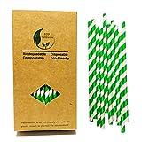Cannucce in carta per bevande con strisce bianche e verdi a spirale stile negozio di barbi...