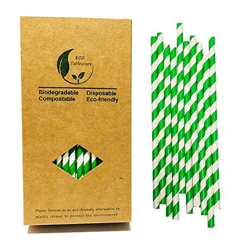 Umwelt Grüne Streifen Papier Strohhalme, 7.75 zoll long Geeignet für Partys, Hochzeiten und Anlässe, 100% biologisch abbaubar,100 Stück Cocktail Strohhalm