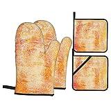 Juego de 4 Guantes y Porta ollas para Horno Resistentes al Calor Dibujo al carboncillo sobre Papel Hecho a Mano Abstracto para Hornear en la Cocina,microondas,Barbacoa