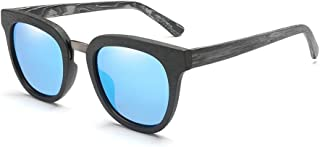 Fashion Classic Square Plate Sunglasses Wood Glasses Retro (Color : E Blue, Size : Free)