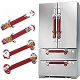 AMACOAM Cubierta Manija de Refrigerador Navidad Adornos Navideños para Refrigerador 4 Piezas Decoración de Refrigerador Navideña Decorativo para Manija de Puerta de Microondas Lavavajillas, Rojo