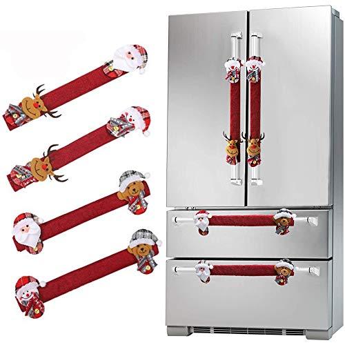 AMACOAM Cubierta Manija de Refrigerador Navidad Adornos Navideños para Refrigerador 4 Piezas Decoración de Refrigerador Navideña Decorativo para Manija de Puerta de Microondas Lavavajillas, Rojo 🔥