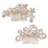 Czemo 2 Stück Haarkamm Rosegold Haarschmuck Strass Blumen Kristall Haar Stifte Clips Hochzeit Haarkamm Clip