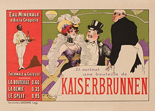 Vintage bieren, wijnen en sterke drank 'Kaiserbrunnen', België, 1920, 250gsm Zacht-Satijn Laagglans Reproductie A3 Poster