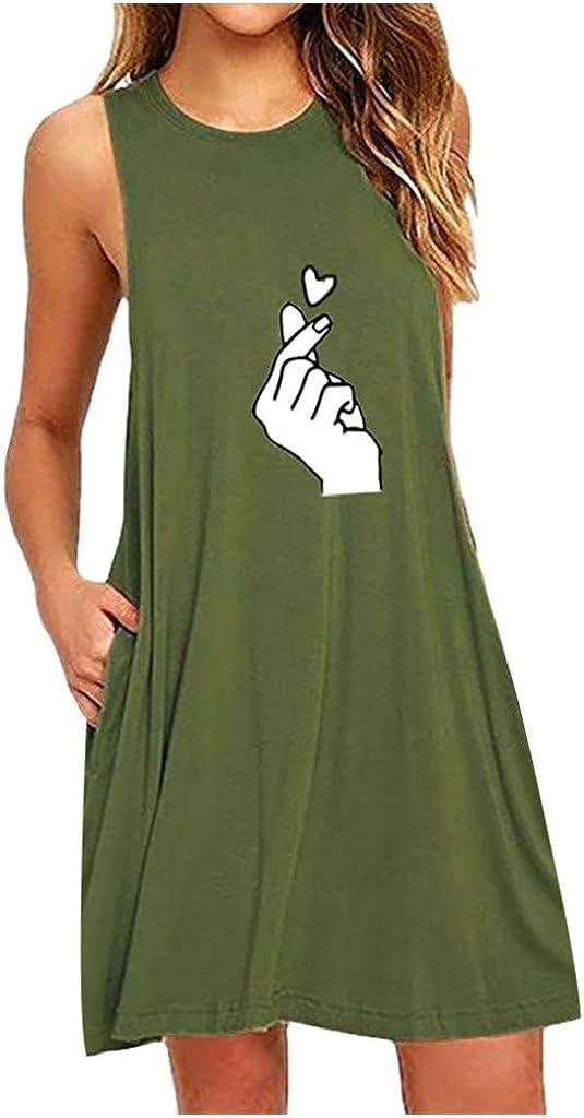 Women's Vest Sleeveless Dress Casual Summer Print Short Mini Dress Loose Nightdress Teen Girls Tank T-Shirt Dress