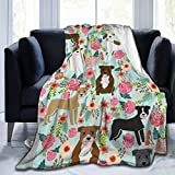 Cozy Flannel Fleece Throw Blanket for Couch Sofa Or Bed Pitbull with Floral Flower Super Soft Warm