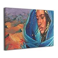Skydoor J パネル ポスターフレーム 内側の砂漠を持つアフリカの女性 インテリア アートフレーム 額 モダン 壁掛けポスタ アート 壁アート 壁掛け絵画 装飾画 かべ飾り 30×20