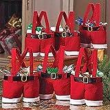 NAKYLUCY 6 Piezas, Bolsa Creativa, Bolsa Estilo Pantalones Papá Noel, Sacos Relleno para Árboles Almacenamiento, Regalo Navidad, Adornos Navideños, Bolsas Dulces para Bodas