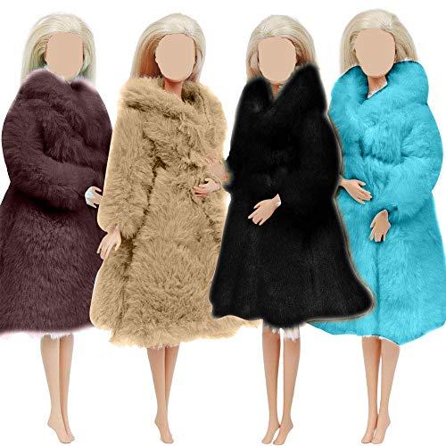 4 PCS Multicolor Langarm Weiche Pelzmantel Flanell Outfit Tops Kleid Winter Warme Accessoires Kleidung Freizeitkleidung für Barbie 11,5 Zoll Doll Kids Toy