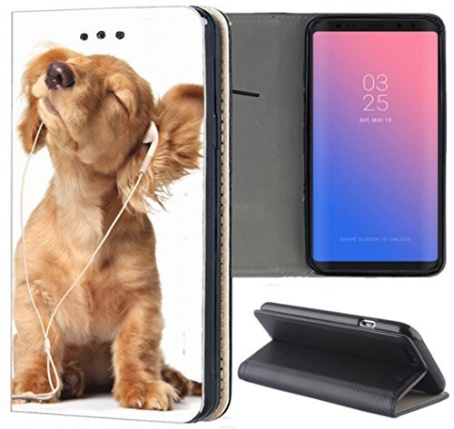 Huawei P20 Lite Hülle Premium Smart Einseitig Flipcover Hülle P20 Lite Flip Hülle Handyhülle Huawei P20 Lite Motiv (1023 H& H&e Baby Welpe Braun)