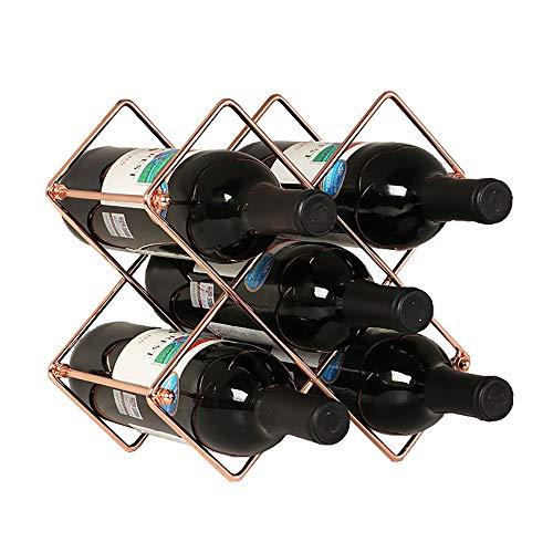 Magiin Botellero de Vino de Hierro Organizador para Botellas de Vino para Restaurantes Bares Decoración de Hogar Producción de Vino Manualidades 25x18x25cm