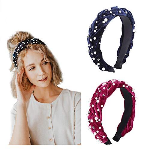 Velvet Braided Pearl Padded Headband Spanish Vintage Style Alice Hair Band Matador Headband (Wine red+Navy blue)
