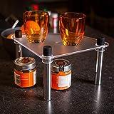 UPP - Mensola aggiuntiva impilabile & espandibile per cucina e bagno, utilizzabile come scaffale angolare o ripiano, Plastica, argento, Eckregal 24,5x24,5x16cm