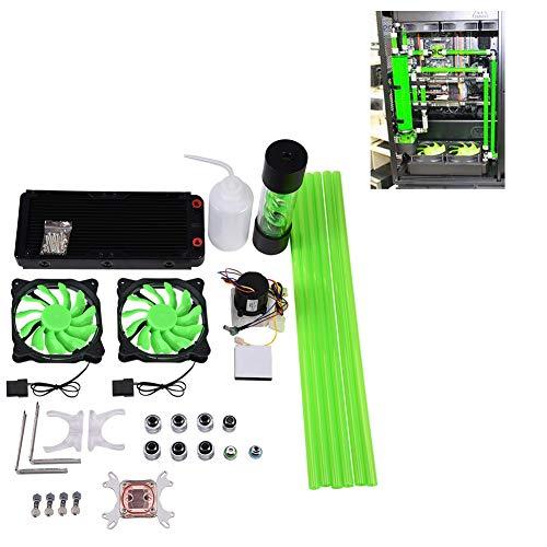 Wasserkühlungskit, All-in-One-Flüssigkeit 240 mm CPU-Kühlkörper Wasserblockpumpe Tanklüfter-LED, Wasserkühler für Computer / PC