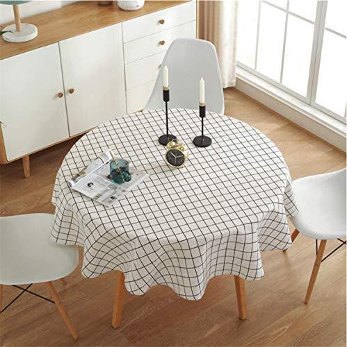 Mantel Redondo Cuadrado Blanco diámetro 150 cm decoración del hogar Protege la Mesa de Centro de Mesa de Comedor de Escritorio