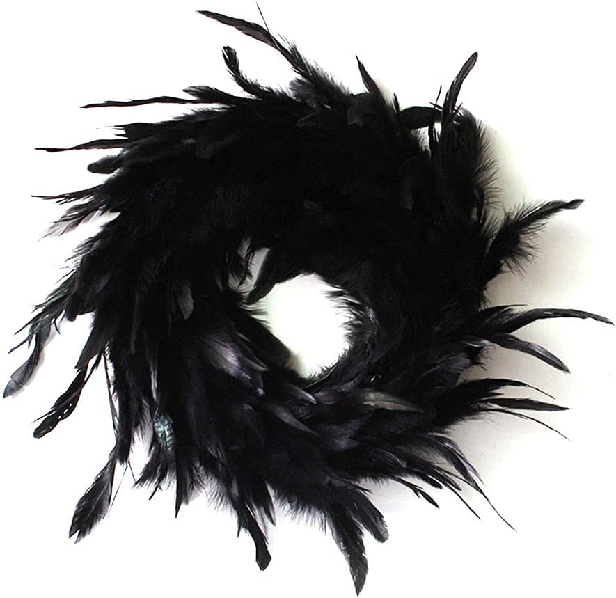 yhengg 11 Cheap sale Inch Black Natural Max 77% OFF Feather D Halloween Wreath Cocktail