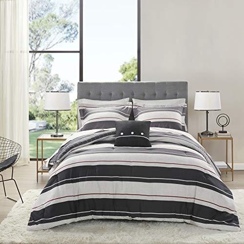 Queen 8pc Wade Reversible Bedding Set Gray/Charcoal