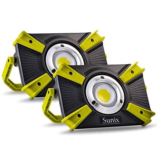 Foco Led Recargable 48 LEDS 1600LM 30W Portátil Luz de Trabajo LED con Abrazadera con Imán Iluminación Luz roja de emergencia SOS para Camión Tractor Taller en Construcción (2PCS Verde)
