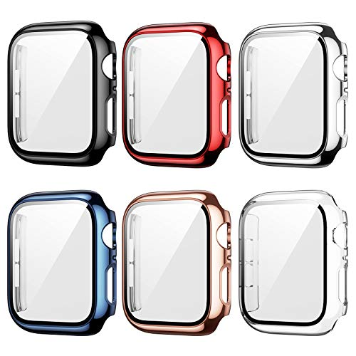 6 Pack Apple Watch Case with Tempered Glass Screen Protector for Apple Watch 38mm Series 3/2/1, Haojavo Plated Hard PC Ultra-Thin Scratch Resistant Bumper HD Protective Cover for iWatch Accessories