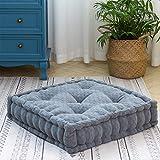 HIGOGOGO Floor Cushion Pouf, Square Floor Pillow Seating Chenille Meditation Cushion, Thick Tufted Pillows for Living Room Yoga Bedroom Sofa, Dark Grey, 20'x20'x5.5'