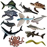 Sea Creature Toys Variety Sea Animals Toys Plastic Ocean Animal Toy Figures Realistic Sea Creatures Life Toys Durable Large Marine Animal Figures Bath Toys Set Gift for Kids Boys Girls 12 Piece