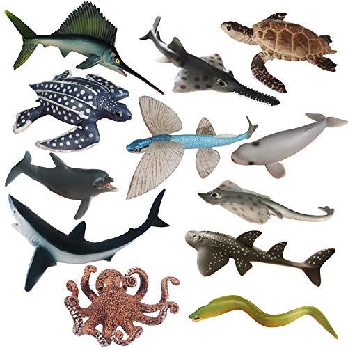 Sea Creature Toys Variety Sea Animals Toys Plastic Ocean Animal Toy Figures Realistic Sea Creatures Life Toys Durable Large Marine Animal Figures Bath Toys Set Gift for Kids Boys Girls 12 Piece