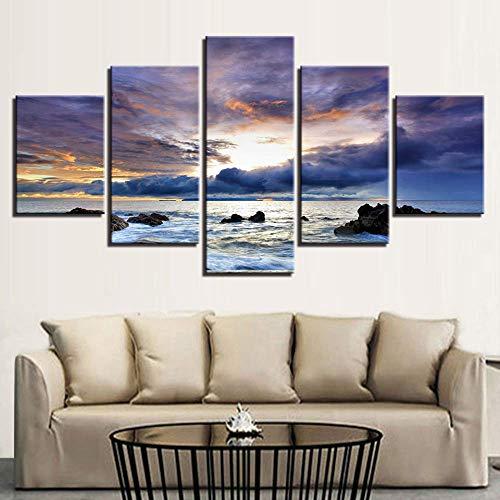 LIBIHUA Leinwandbilder Wandkunst Rahmen Hd Drucke 5 Stücke Sonnenaufgang Meer Welle Gemälde Modulare Weiße Wolken Seascape Poster Wohnkultur200x100cm Kein Rahmen