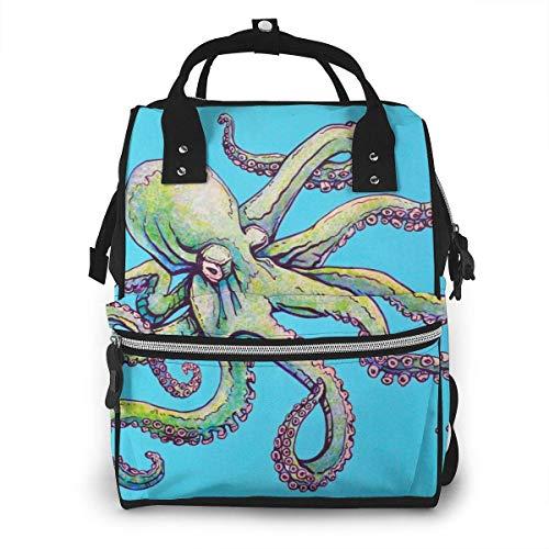 Koningin Octopus Zee Blauw Grote Capaciteit Multifunctionele Mummy Rugzak Grote Capaciteit Landscap Licht Baby Luiertassen