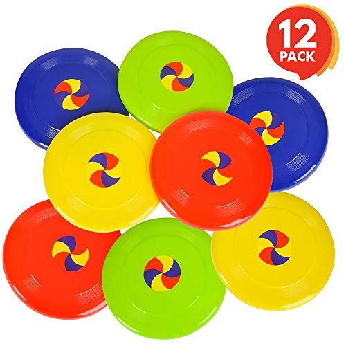 ArtCreativity 8 Inch Flying Disc Saucers  Set of 12  Flyer Disks for Kids and Adults  Durable Plastic  Fun Summer Outdoor Activity Game for Boys Girls Toddlers Camping  Birthday Party Favors