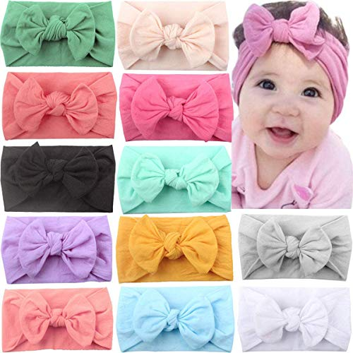 JOYOYO 12 Pcs Baby Headbands with Bows Wide Headbands Super Stretchy Soft Elastic Headbands and Hair Bows Baby Hair Accessories