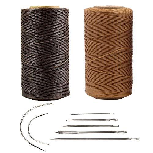 Nsiwem Hilo Encerado para Cuero 2 piezas Cordón de Hilo Encerado 260M 150D 1mm Hilo de Costura para Cuero Hilo de Cuero para Coser a Mano con 7 pcs Agujas para DIY Artesanía de Cuero
