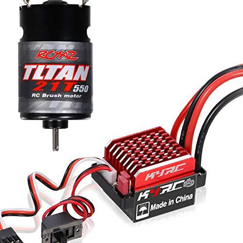 Tooart Motor RC Esc, Motor Cepillado 550 21T con Controlador De Velocidad Eléctrico Cepillado 60A / 360A Esc 6V / 2A para Coche De Carreras RC Coche Todo Terreno Compatible con TRX-4 TRX-6 Axial