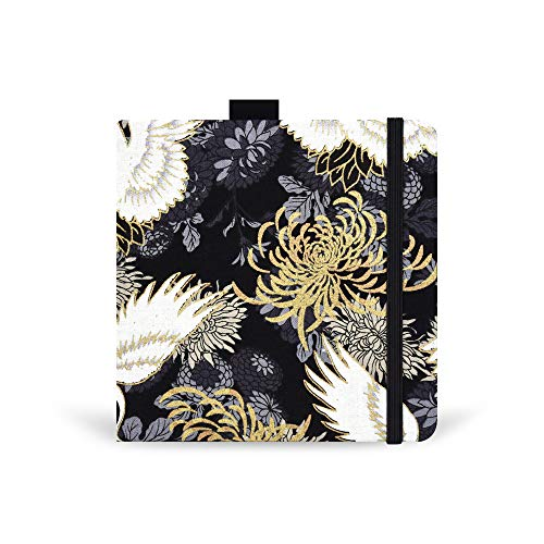 Square 5.1X5.1' 300gsm Watercolor Journal Hardbound 40pgs(20 Sheets Front Back 2 Textures)Travel Size for Calligrapher Colored Pencil Watercolor Sketch Handmade Cloth Cover Notebook Black Crane